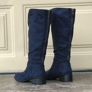 Slouchy Tall Navy Fabric Zipper Back Detail Boots